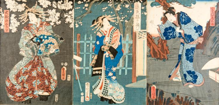 Geishe, tre stampe acquerellate. | Geishas, three watercolor prints.