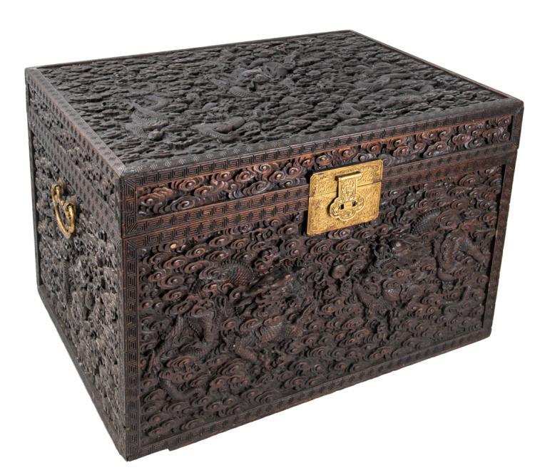 Bella cassa cinese in legno riccamente intagliato. Cina XIX secolo. | Beautiful Chinese ornately carved box.China XIX Century.