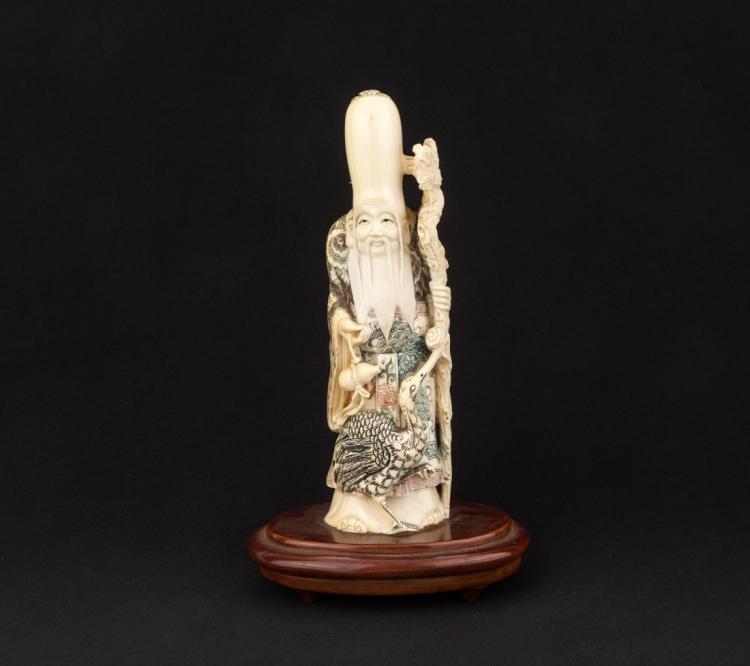 Figura di vecchio saggio, avorio. | The old vise man, ivory.