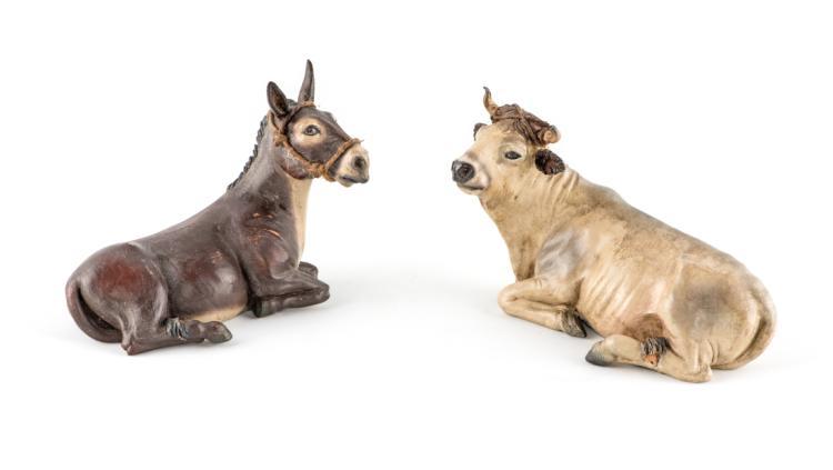 Bue e asinello accovacciati   Ox and donkey squatting