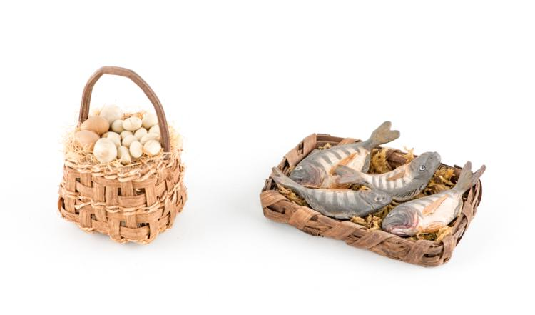 Cesto con pesci terracotta e uno di limoni in cera | Basket with clay fish and one lemon wax