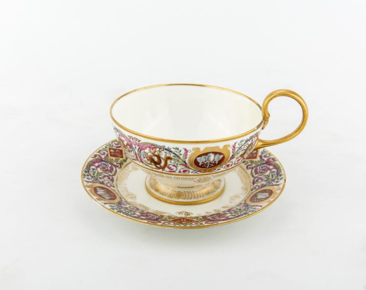 Grande tazza in porcellana di Sevres, periodo Secondo Impero. | Great cup of Sevres porcelain, Second Empire period.