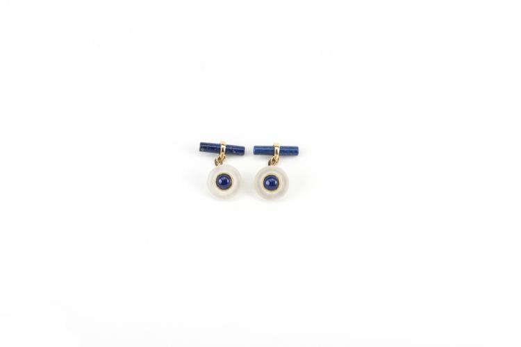 Gemelli in oro giallo, lapis e cristallo | Cufflinks in yellow gold, lapis and crystal
