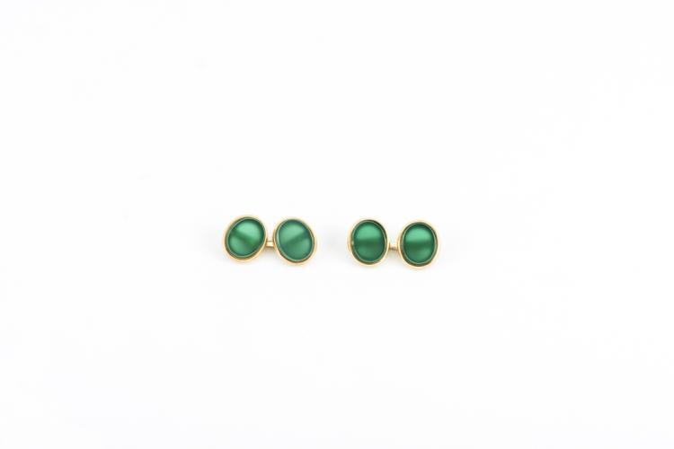 Gemelli in oro giallo e agata verde | Cufflinks in yellow gold and green agate