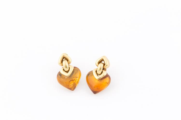 Orecchini Bulgari in oro giallo con citrini a forma di cuore | Bulgari earrings in yellow gold with heart shaped citrines