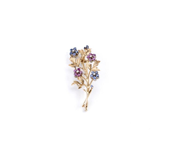 Spilla a foglie in oro con fiori | Leaf brooch in gold with flowers