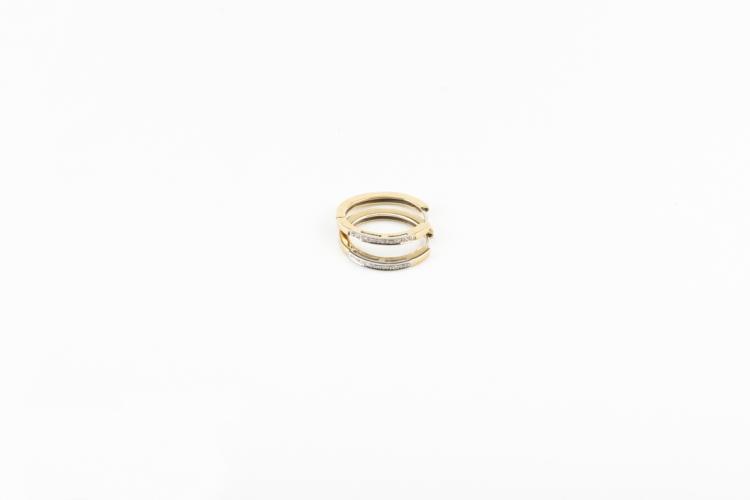 Orecchini ovali in oro giallo e bianco e diamanti | Oval earrings in yellow and white gold and diamonds