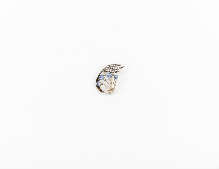 Antica Spilla in argento e oro e zaffiri | Ceylon sapphires1940s brooch