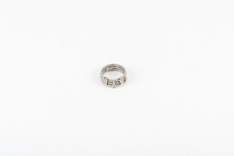 Anello corda in oro bianco e diamanti | Rope ring in white gold and diamonds