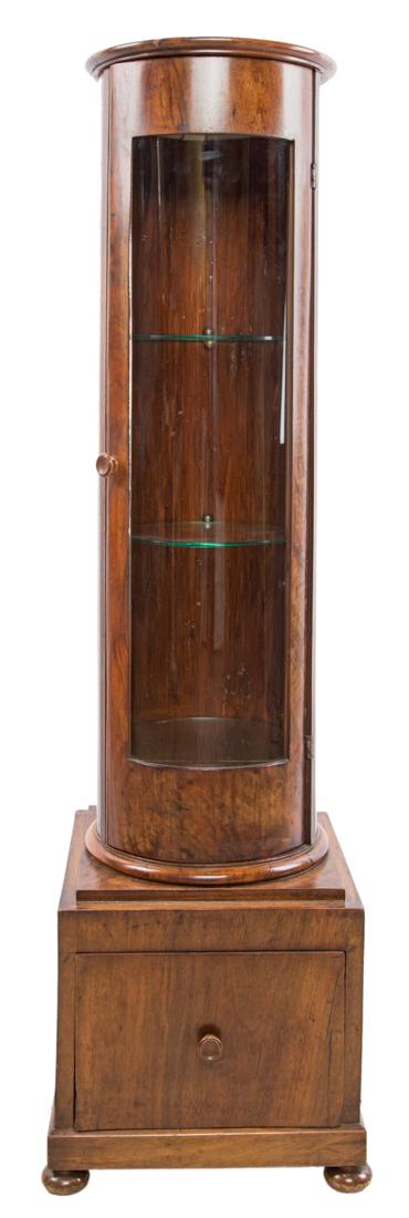 Vetrinetta a colonna in legno di noce   Column showcase in walnut wood