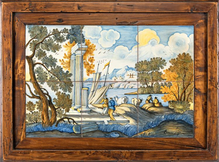 LUIGI BOCCINI | PERUGIA 1939 | Sei mattonelle in maiolica | Six majolica tiles