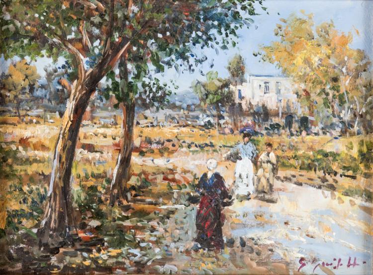 PITTORE DEGLI INIZI DEL XX SECOLO Coppia di paesaggi raffiguranti giardini con personaggi | Pair of rural landscapes with characters