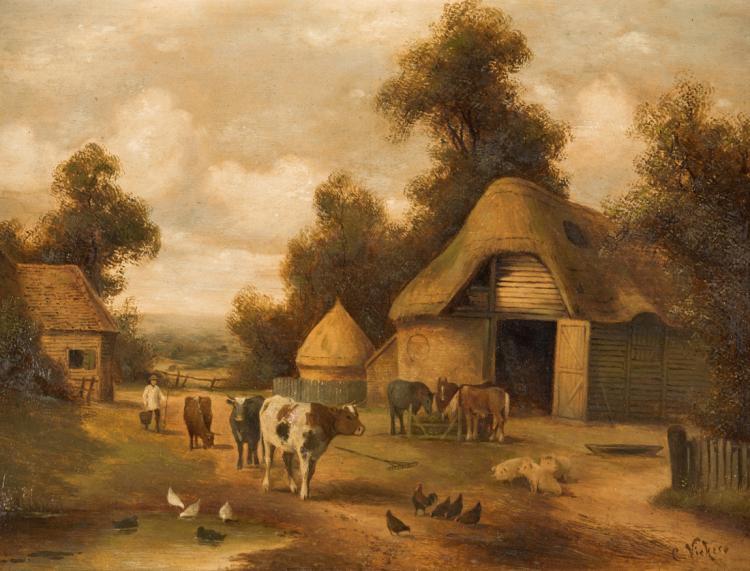CHARLES VICKERS   XIX SEC. Coppia paesaggi rurali   Pair of rural landscapes