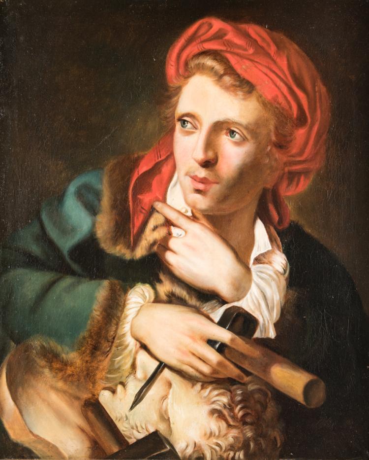 PITTORE DEL XIX SECOLO Ritratto di giovane scultore, olio su tela, cm 64x53 | Portrait of young sculptor, oil on canvas, 64x53 cm