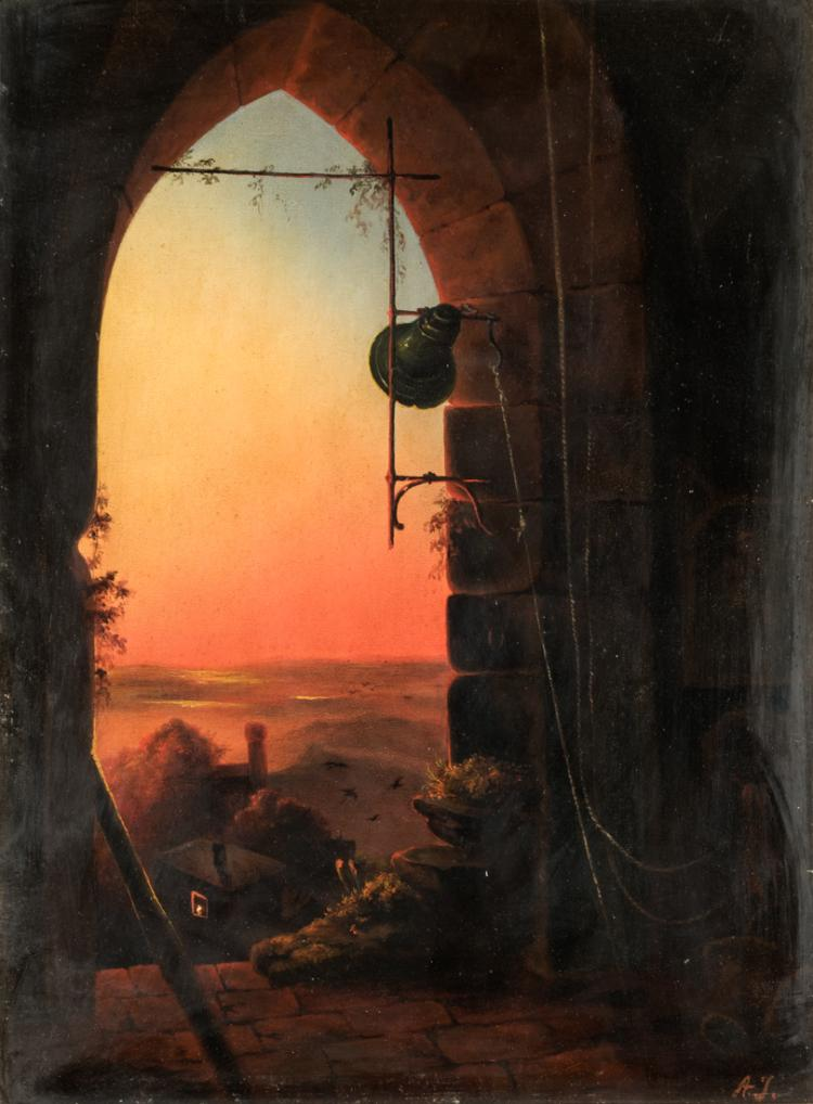 ANGELO INGANNI | BRESCIA 1807-GUSSAGO 1880 | Veduta al tramonto | View at sunset
