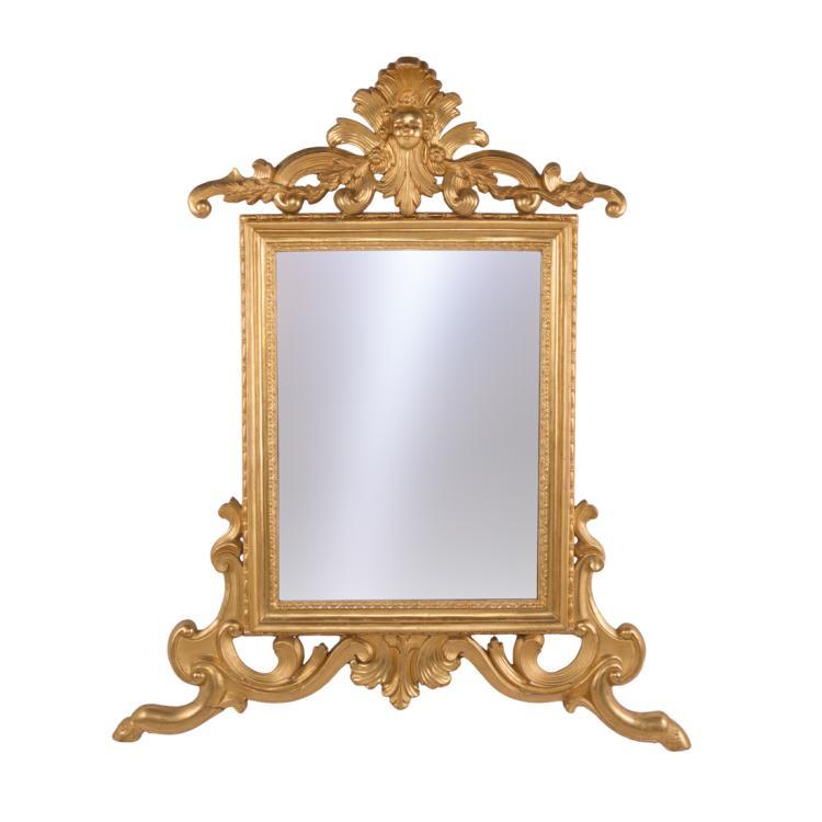 Specchiera in legno dorato e con putto   Mirror in gilded wood with a putto