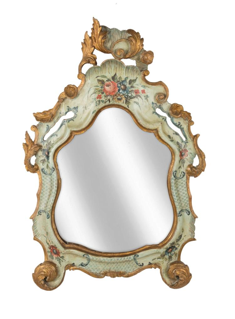 Specchiera veneta in legno dorato e laccato | Venetian mirror in gilded and lacquered wood