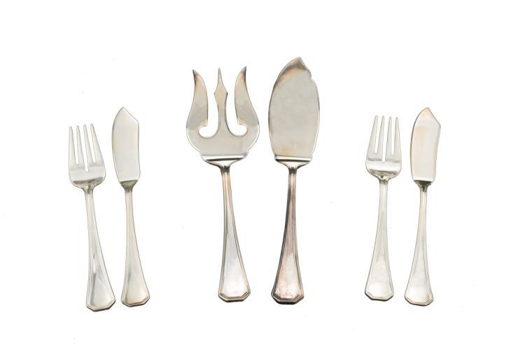 Servizio di posate da sei pezzi in argento da pesce | Silver fish cutlery, six pieces