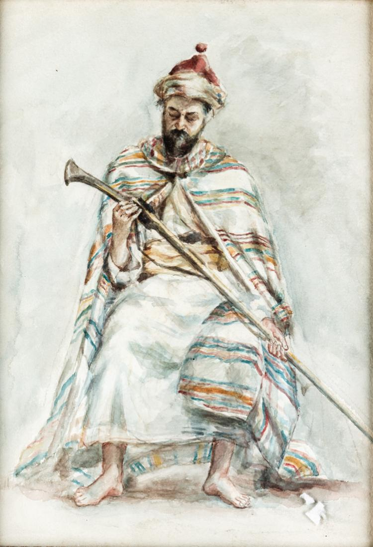 PITTORE DEL XIX SECOLO Arabo con archibugio | Arab with blunderbuss