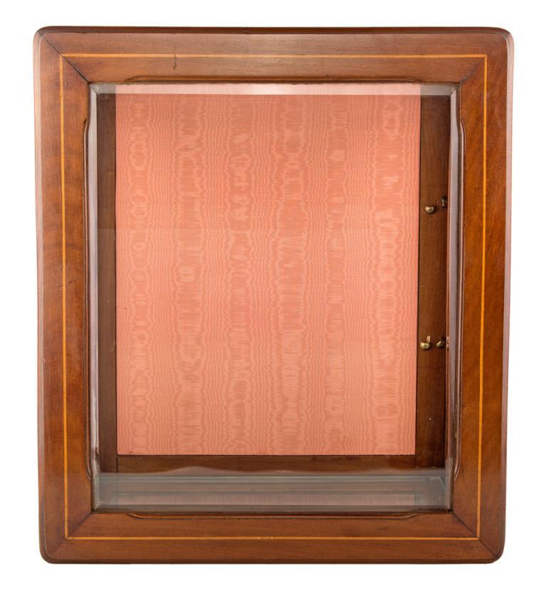 Piccola vetrina da muro in legno di mogano con filettatura in boise de rose | Small mahogany showcase threaded in boise de rose