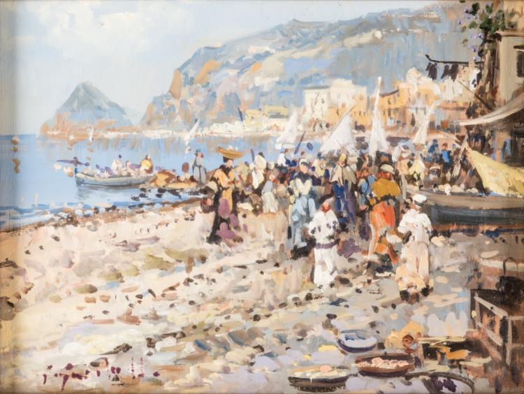 PITTORE DEGLI INIZI DEL XX SECOLO Scorcio della costiera Amalfitana | View to the Amalfi Coast