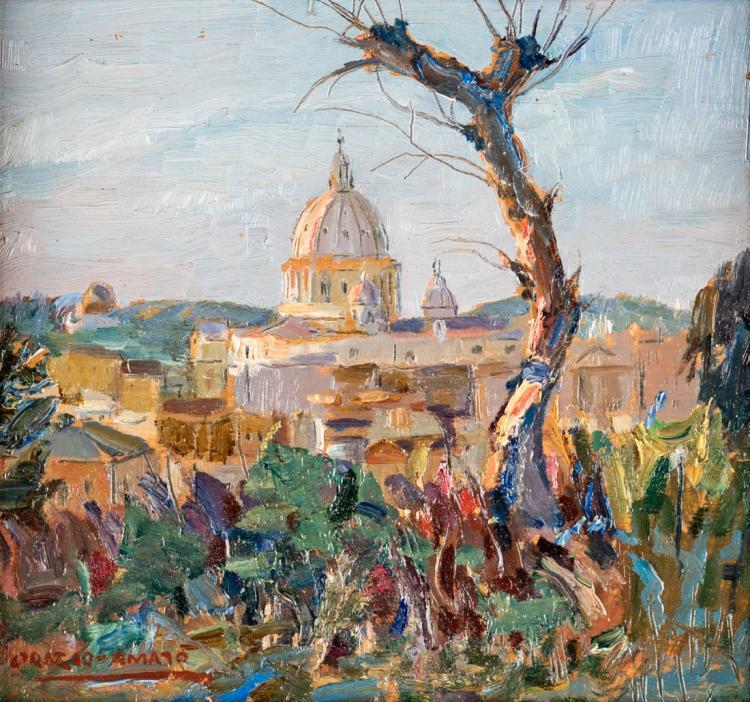 ORAZIO AMATO | ANTICOLI CORRADO 1884-ROMA 1952 | Scorcio di Roma con cupola di San Pietro | View of Rome with St. Peter's dome