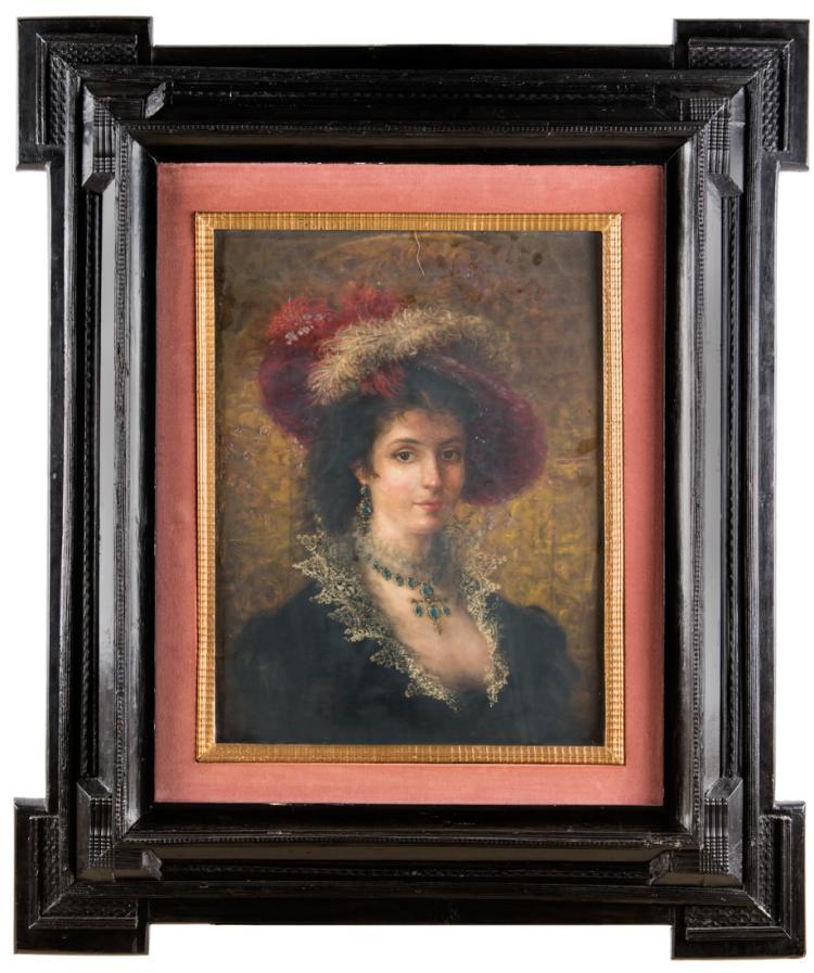 PITTORE DEL XIX SECOLO Ritratto di giovane donna con cappello di piume   Portrait of young woman with feather hat