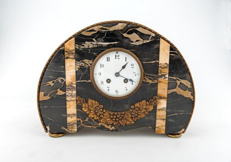 Orologio Decò in marmo portoro | Clock Deco marble portoro