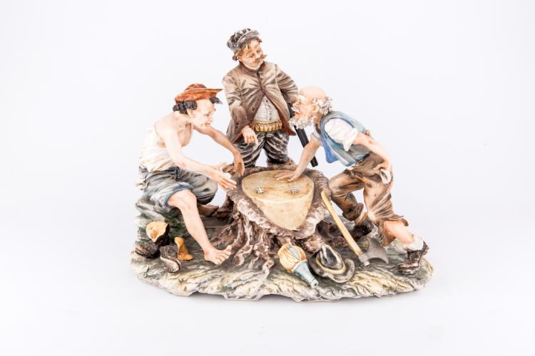 Giocatori di dadi, porcellana di Capodimonte | Players of dice, Capodimonte porcelain