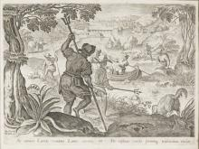 | Antica stampa con allegoria della caccia | Antique print with the Hunt's Allegory
