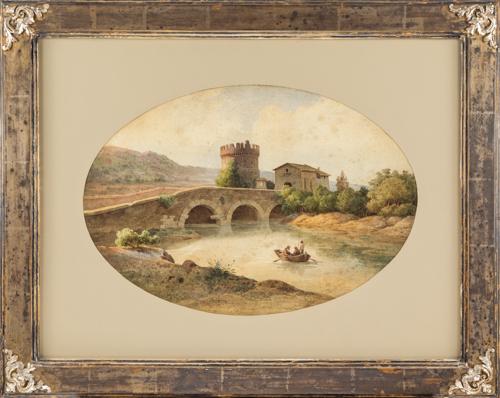 Roberto Gigli (1846-1922) | Veduta del ponte Lucano con il Mausoleo dei Plauti | View of the Ponte Lucano