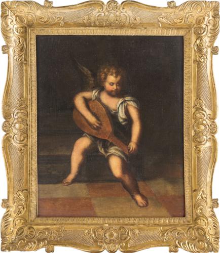 Scuola Italiana del XVIII secolo | Putto che suona il liuto | Putto playing a Lute