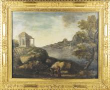 Pittore del XIX secolo | Paesaggio con Viandanti e tempietto | Italian Landscape
