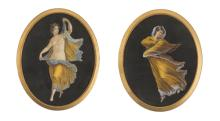Pittore del XIX secolo | Coppia di litografie colorate a tempera | A Pair of colored lithographs with the Muses