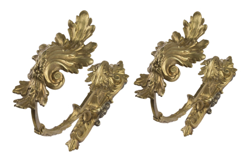| Coppia di porta embrasse Napoleone III | Napoleon II Curtain rod in gilded bronze