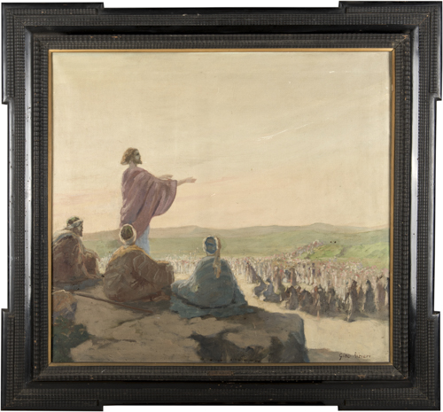 Gino Albieri (1881-1949) | Predica nel deserto |  Christ preaching in the desert