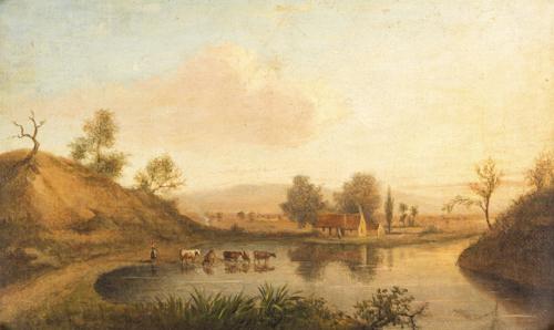 Pittore del XIX secolo | Paesaggio con contadina e armenti | Landscape with peasant and herds