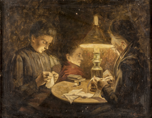 Salvatore Marchesi (Parma 1852, Parma 1926) | Cucitrici a lume di candela | Staplers by candlelight