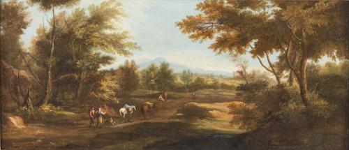 Paolo Anesi (Roma 1697, Roma 1773) | Paesaggio italiano con viandanti | Italian Landscape with travelers