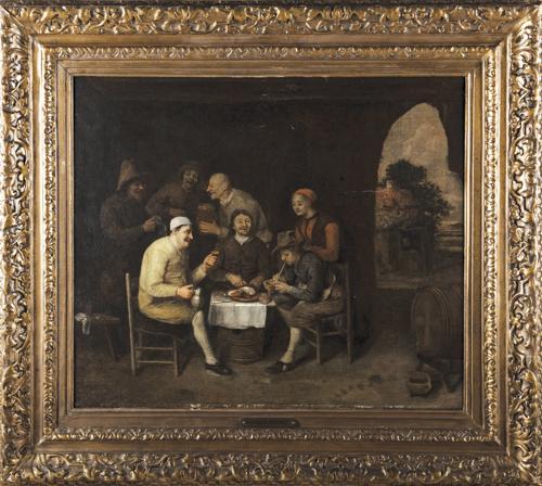 Philips de Koninck (Amsterdam 1619, Amsterdam 1688) Attribuito a |  Interno di Osteria |