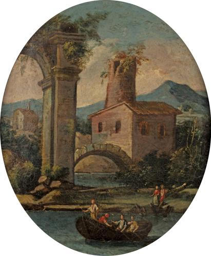 Scuola Italiana del XVIII secolo | Coppia di paesaggi a sesto ovale con rovine classiche | Pair of landscapes with fishermen and shepherds