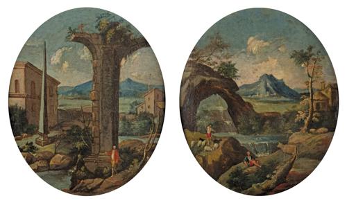 Scuola Italiana del XVIII secolo | Coppia di paesaggi a sesto ovale con rovine classiche | Pair of landscapes with shepherds and a Gentleman
