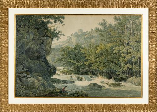Abraham Luis Ducros (Yverdon Les Bains 1748, Losanna 1810) | Paesaggio fluviale con pescatore nei pressi del tempio della Sibilla a Tivoli | River Landscape