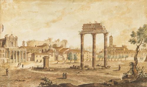 Scuola romana del XVIII secolo | Veduta di Campo Vaccino | View of Campo Vaccino in Rome