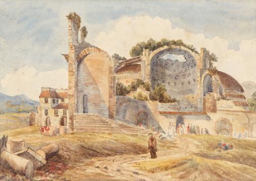 Pittore del  XIX secolo | Paesaggio con rovine romane | Landscape with Roman ruins and figures