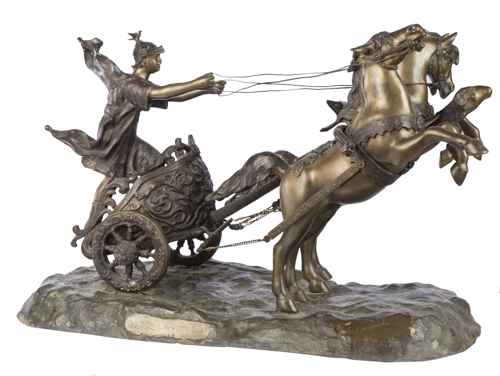 Tommaso Campaiola (1880-1920) | Gruppo scultoreo in bronzo Verso la Vittoria | Burnished bronze Sculpture