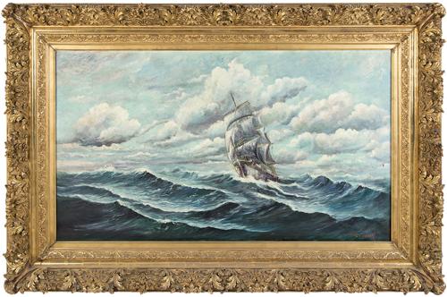 Scuola Nord Europea del XIX-XX secolo | Marina con veliero | Sailing Ship