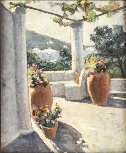 Federico Variopinto (Attivo a Napoli nel XIX Secolo) | Terrazza a Capri | Capri Terrace