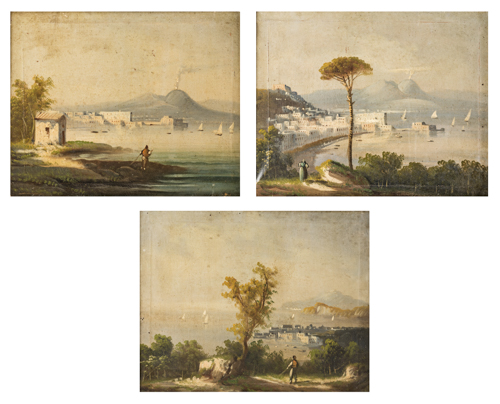 Scuola Napoletana del XIX secolo | Tre Vedute del Golfo di Napoli | Three views of the Gulf of Naples