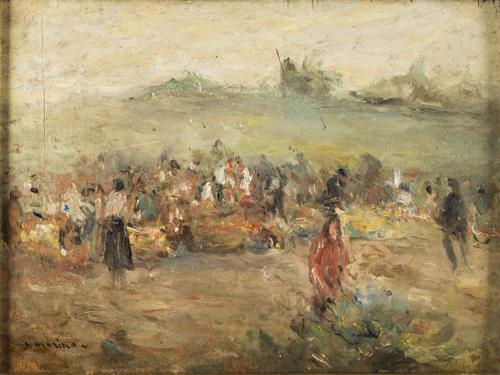 Francesco Di Marino (Napoli 1892, Napoli 1954) | Paesaggio con figure |